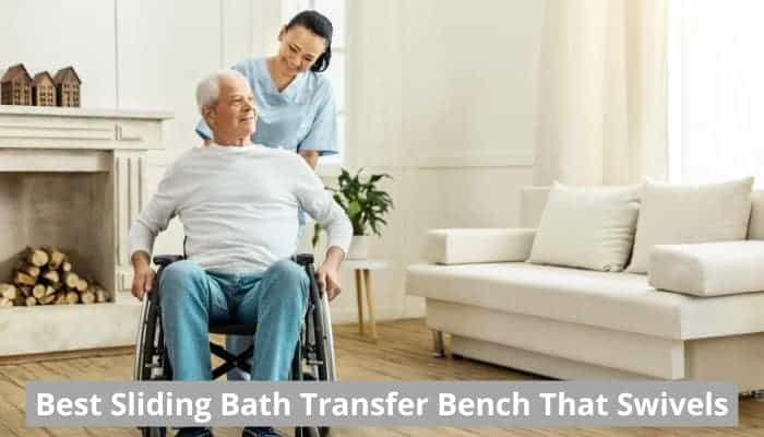 Sliding bath transfer bench that swivels