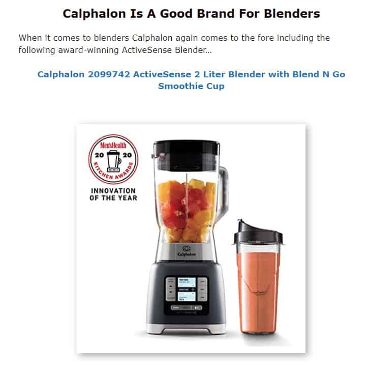 Calphalon is an excellent brand for blenders