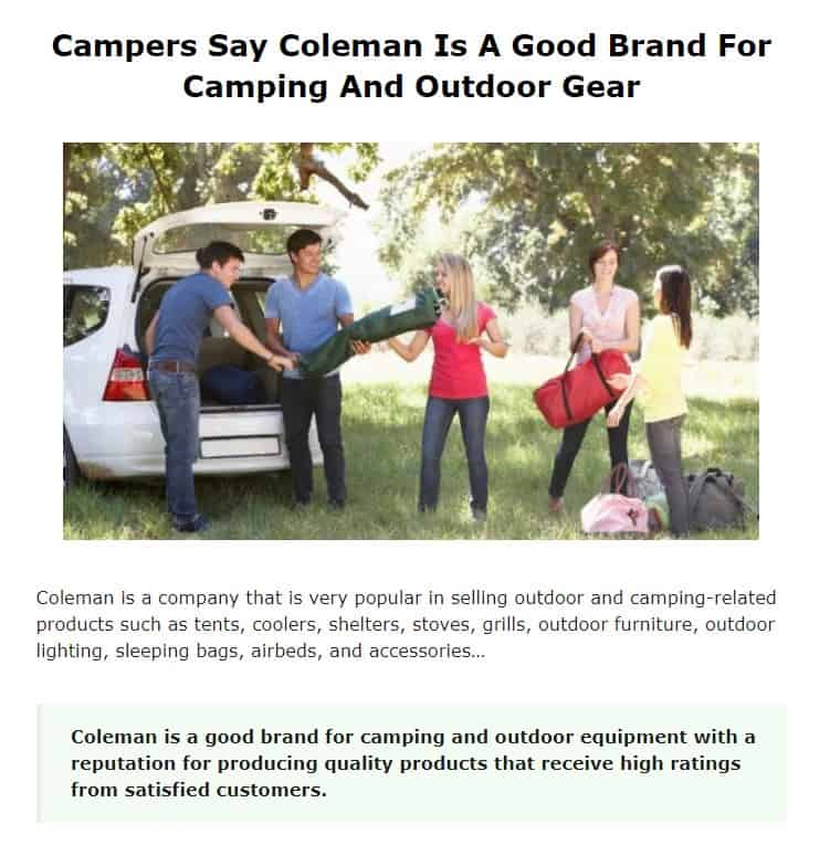 Coleman is an excellent camping brand
