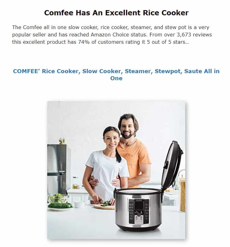 Comfee is an excellent rice cooker brand