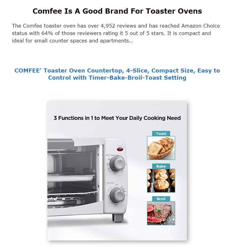 Comfee is a good brand for toaster ovens