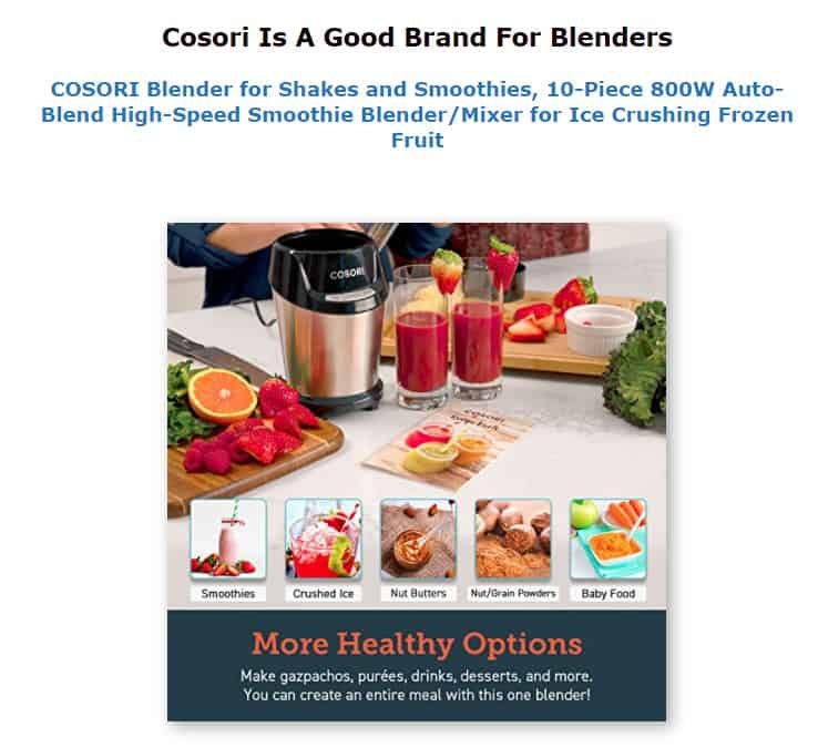 Cosori is an excellent blender brand