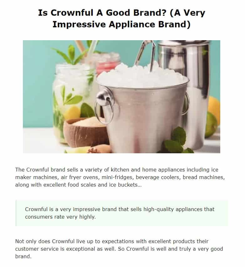 Crownful is an excellent countertop appliance brand
