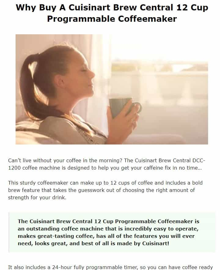 Cuisinart is an excellent coffee maker brand
