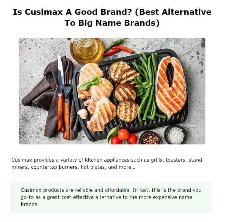 Cusimax is an excellent countertop appliance brand