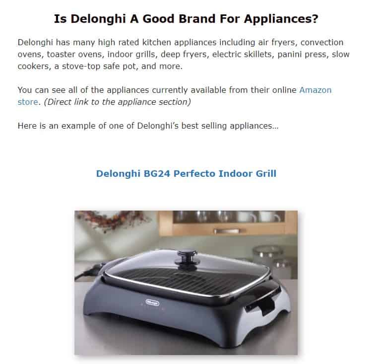 Delonghi is an excellent appliance brand