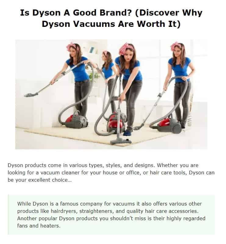 Dyson is an excellent vacuum cleaner brand