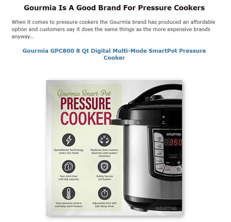 Gourmia is an excellent pressure cooker brand