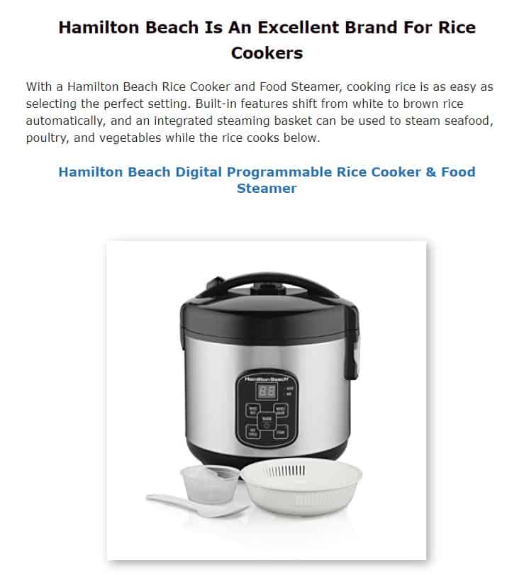 Hamilton Beach is an excellent rice cooker brand