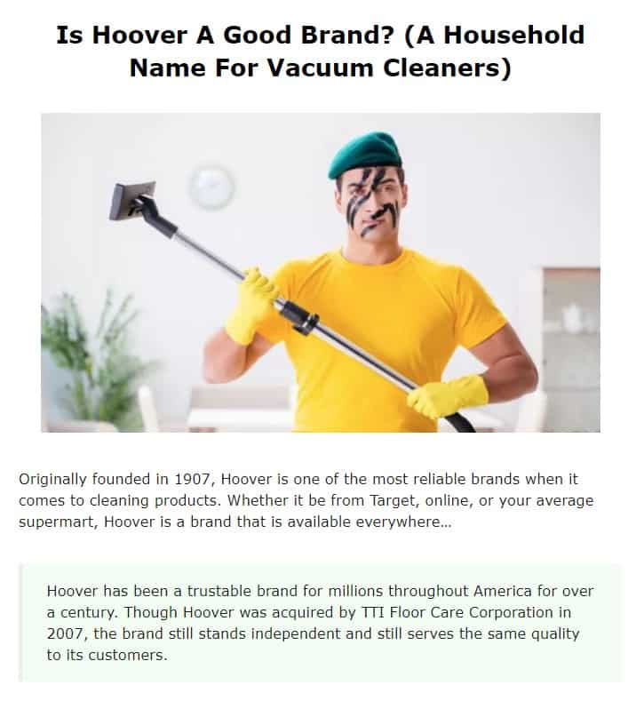 Hoover is an excellent vacuum brand