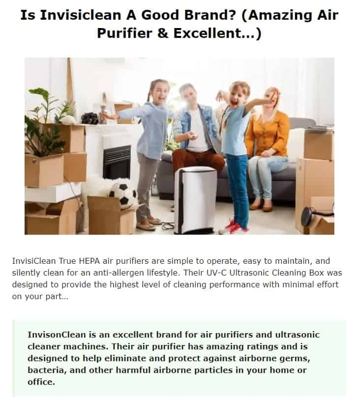 Invisiclean is an amazing air purifier brand
