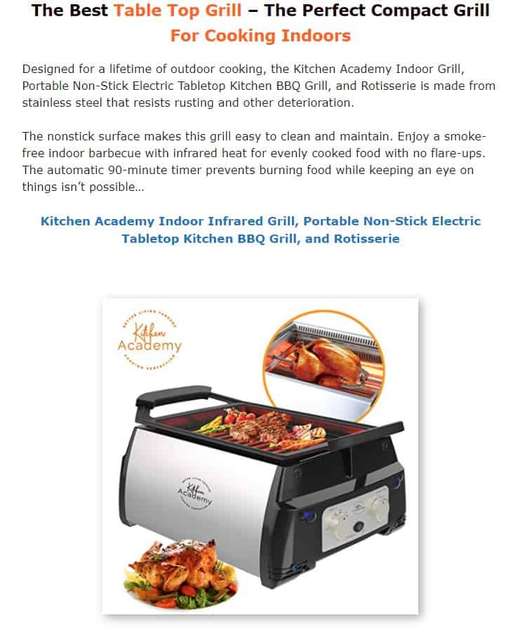 Kitchen Academy is an excellent indoor grill brand