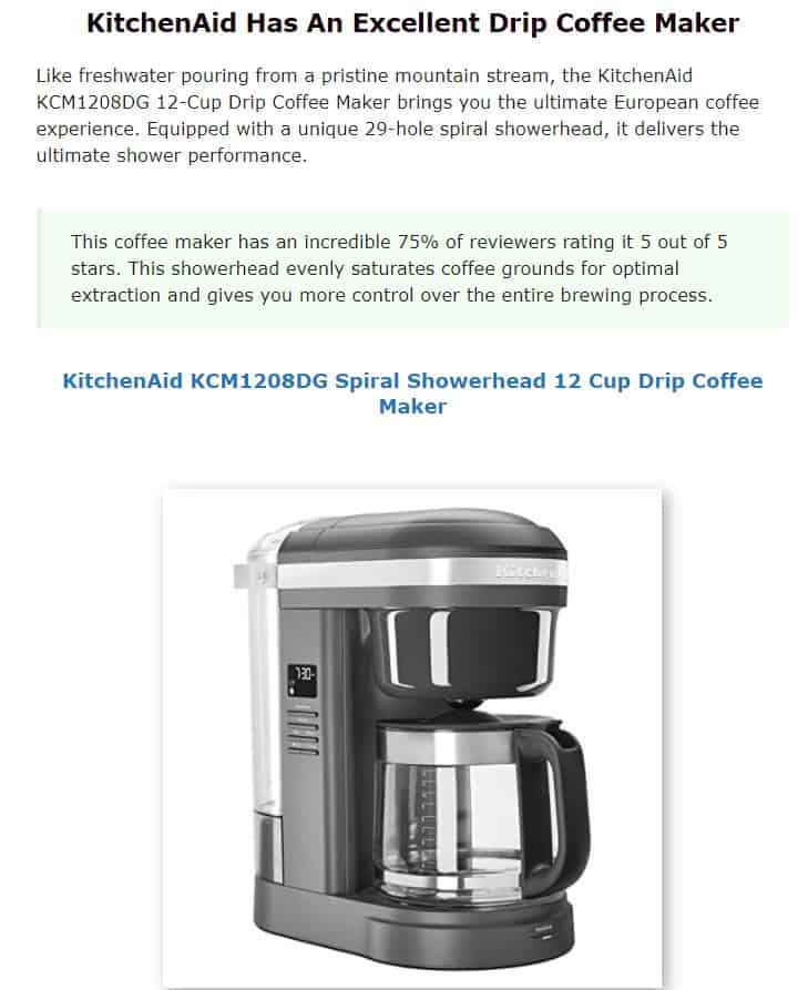 KitchenAid is an excellent coffee maker brand