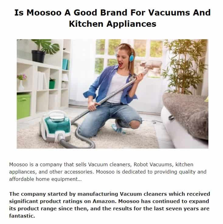 Moosoo is a good vacuum brand