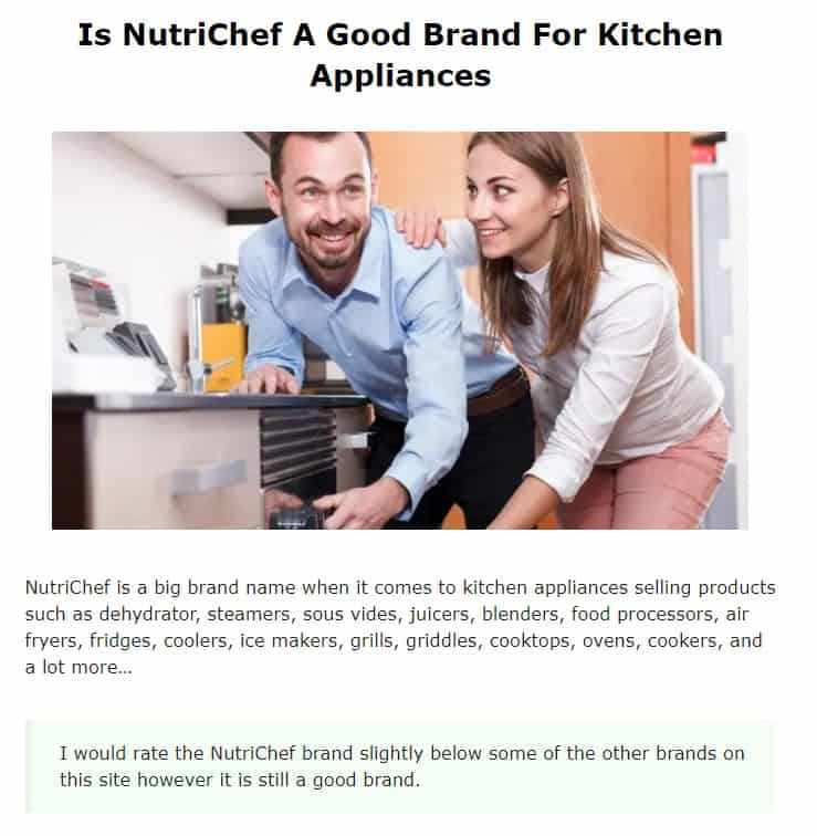 Nutrichef is an excellent brand for countertop appliances
