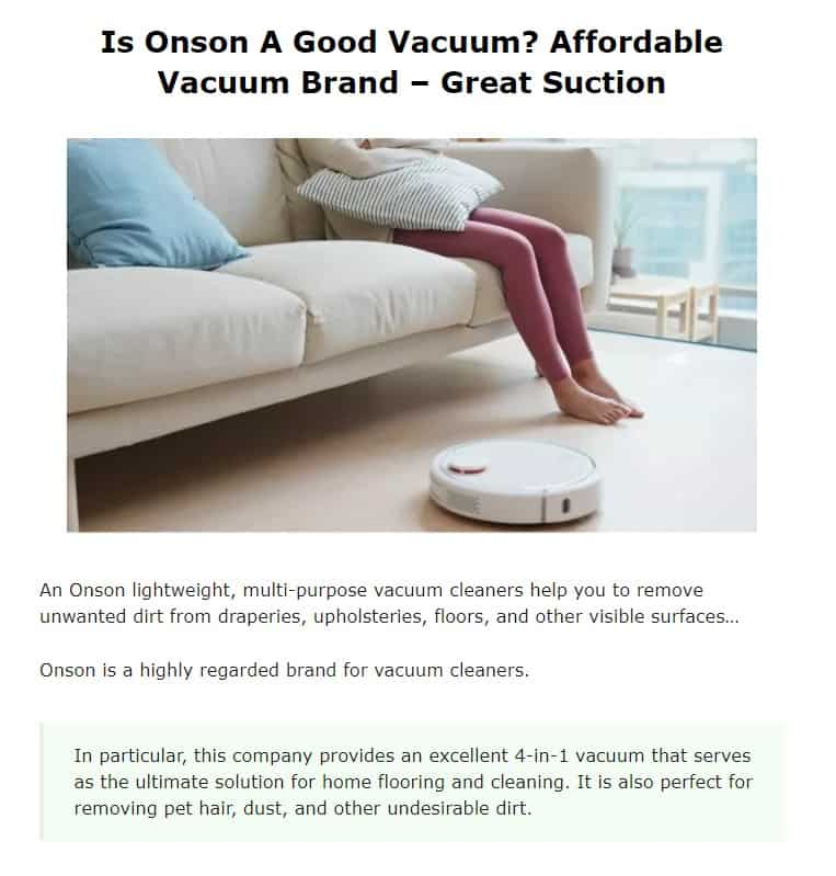 Onson is a good vacuum cleaner brand