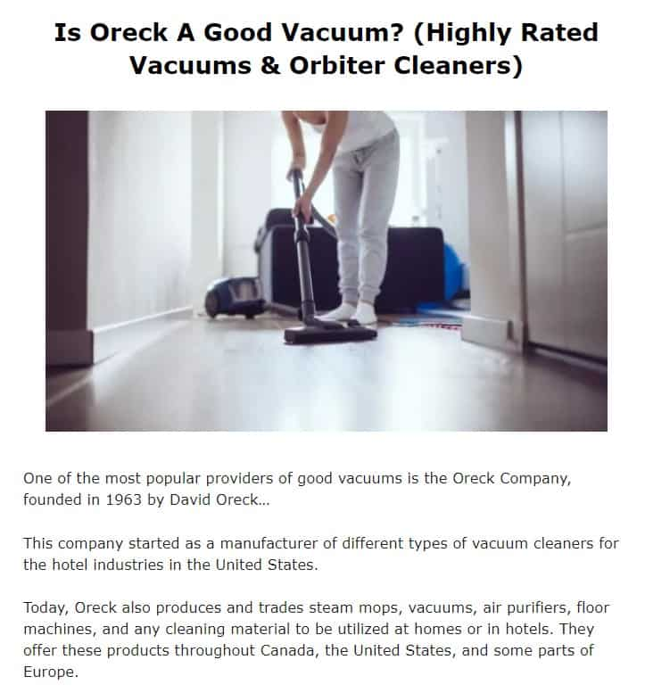 Oreck is an excellent vacuum brand