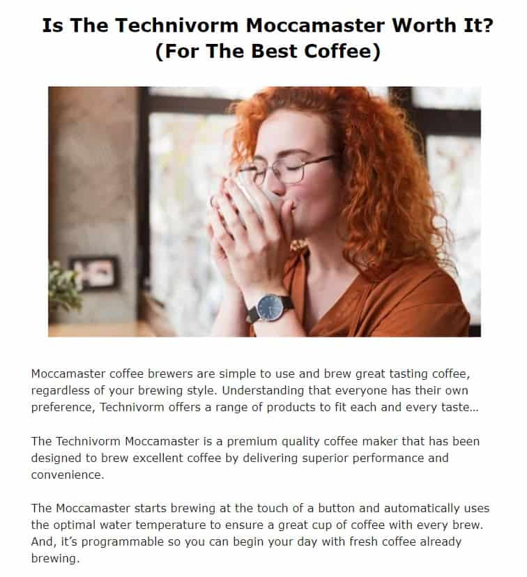 Technivorm Moccamaster is an amazing coffee machine brand